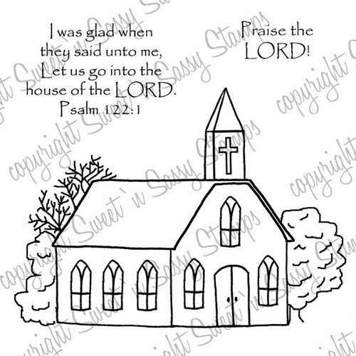 Country Church Digital Stamp