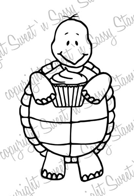 Tommy Turtle's Cupcake Digital Stamp