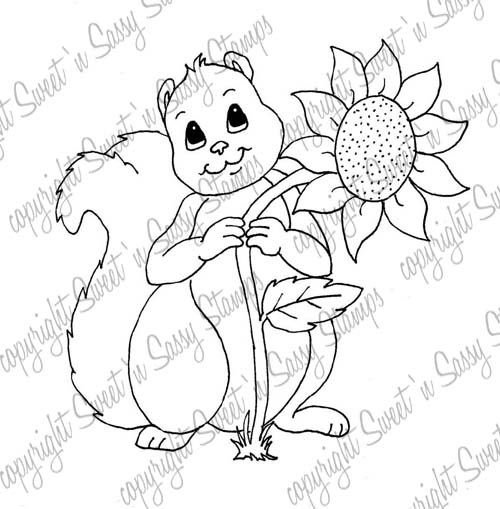 Sunny Squirrel Digital Stamp