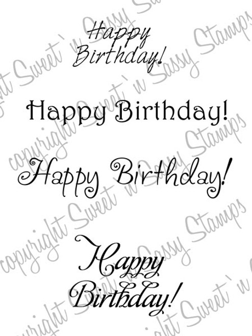 Feminine Birthday Greetings Digital Stamp