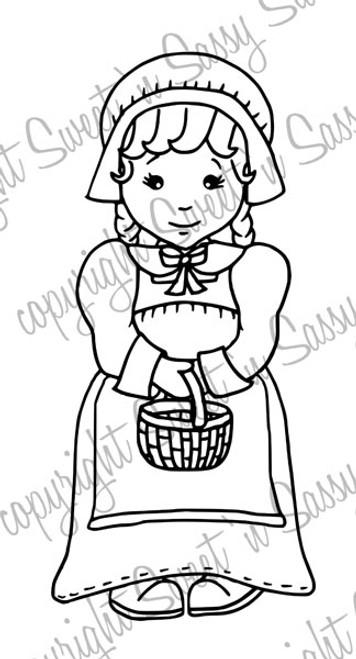 Pilgrim Girl Molly Digital Stamp