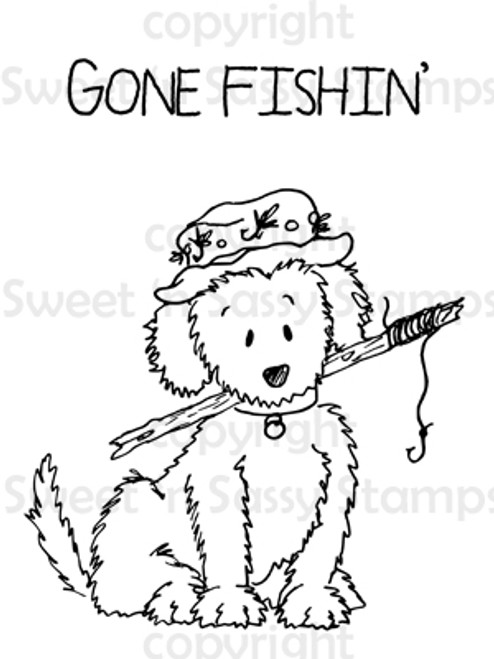 Let's Go Fishing Puppy Digital Stamp