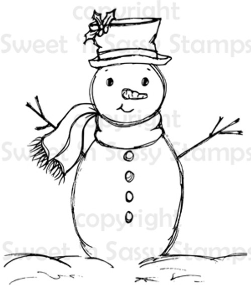 Sketchy Snowman Digital Stamp