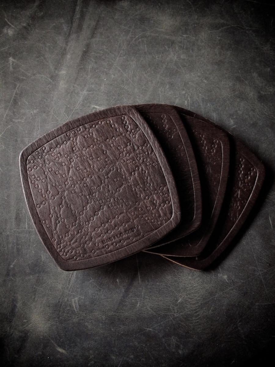 """Bubbly"" Burgundy Handmade Leather Coaster"