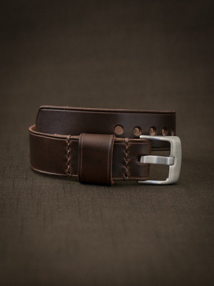 """""""Wesley"""" Chocolate Brown Leather NATO Watch Strap"""
