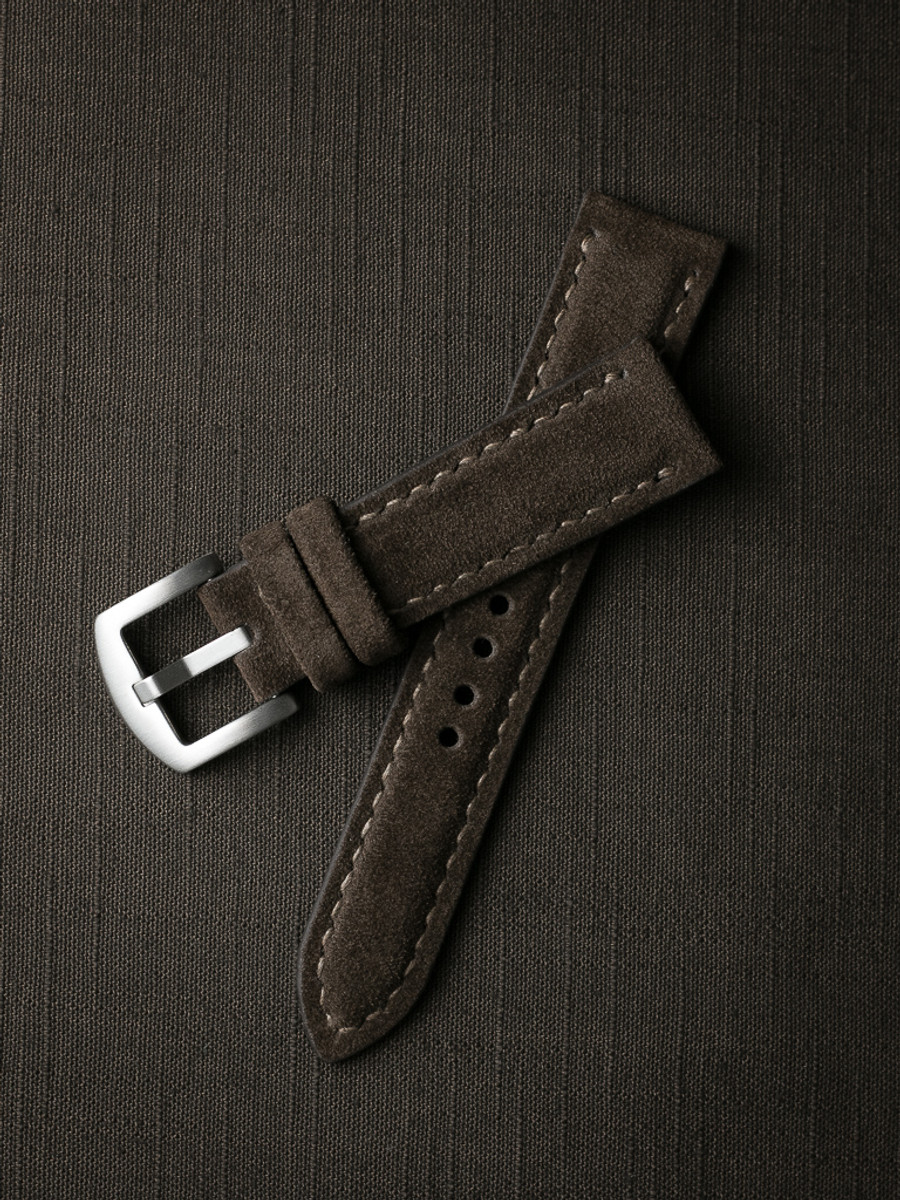 """Hutchison"" Chocolate Brown Padded Suede Watch Strap"