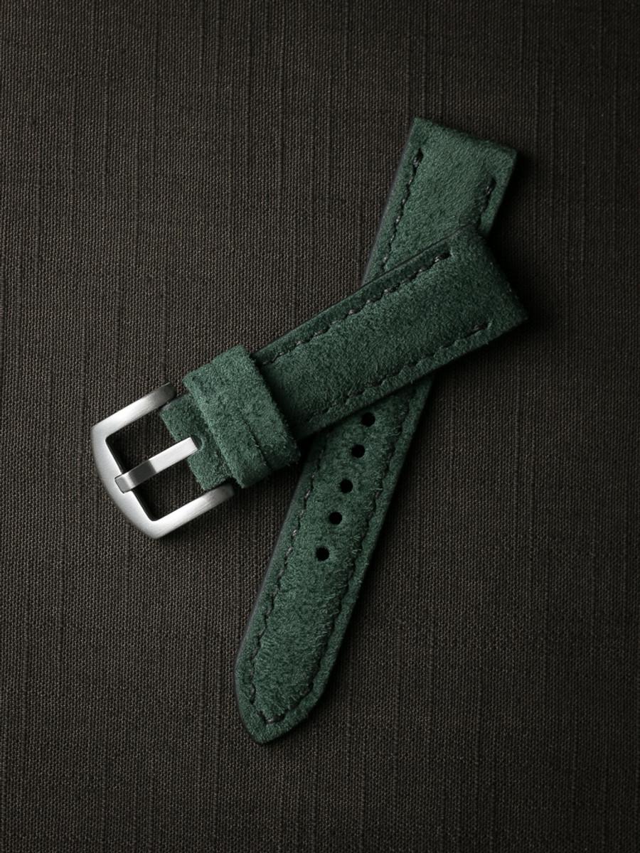 """Saatchi"" Malachite Green Padded Suede Watch Strap"