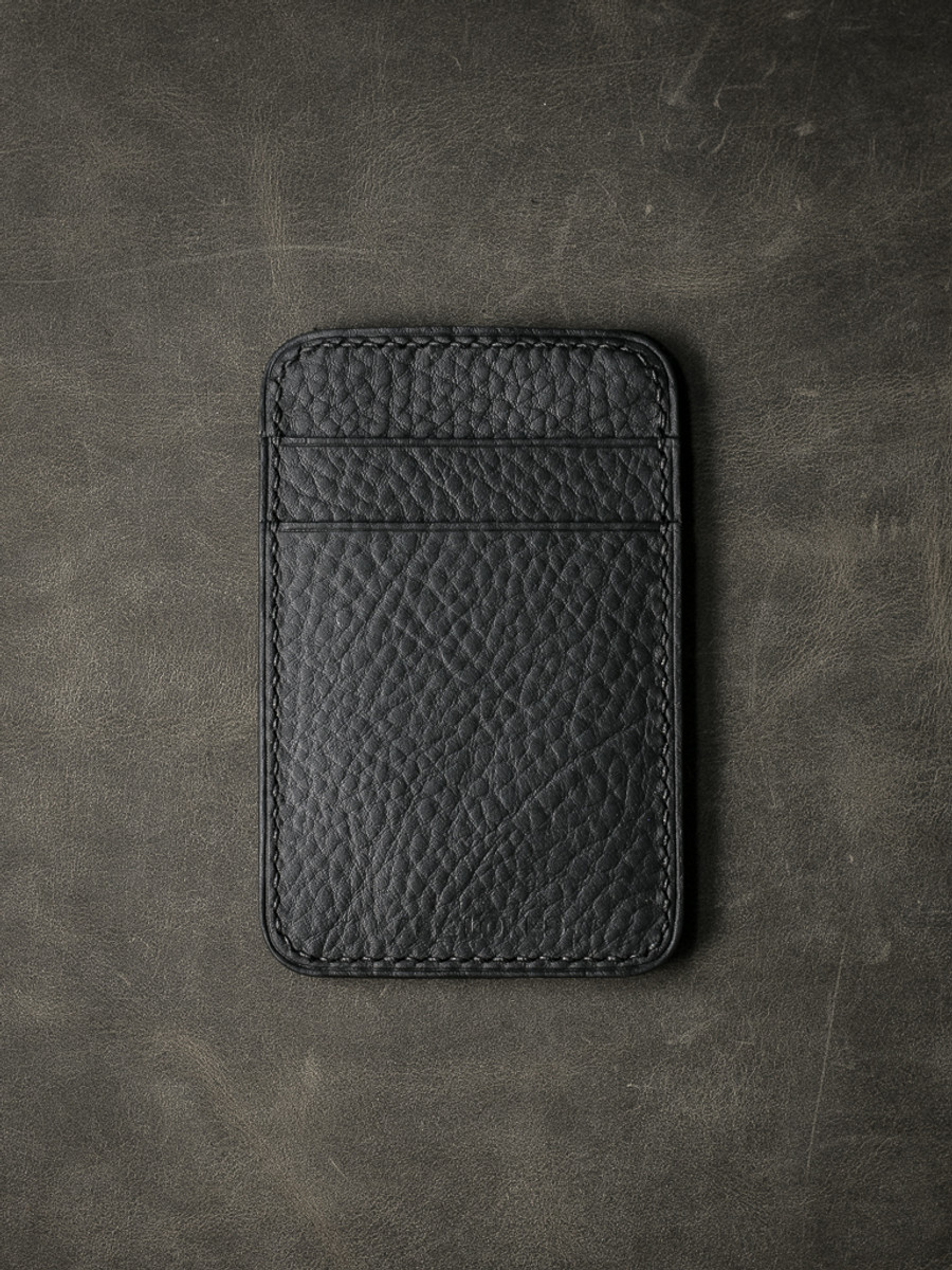 """Maddox"" Pebbled Black Slim Leather Wallet"