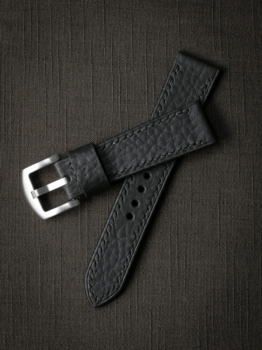 """Dane"" Pebbled Matte Black Leather Watch Strap"