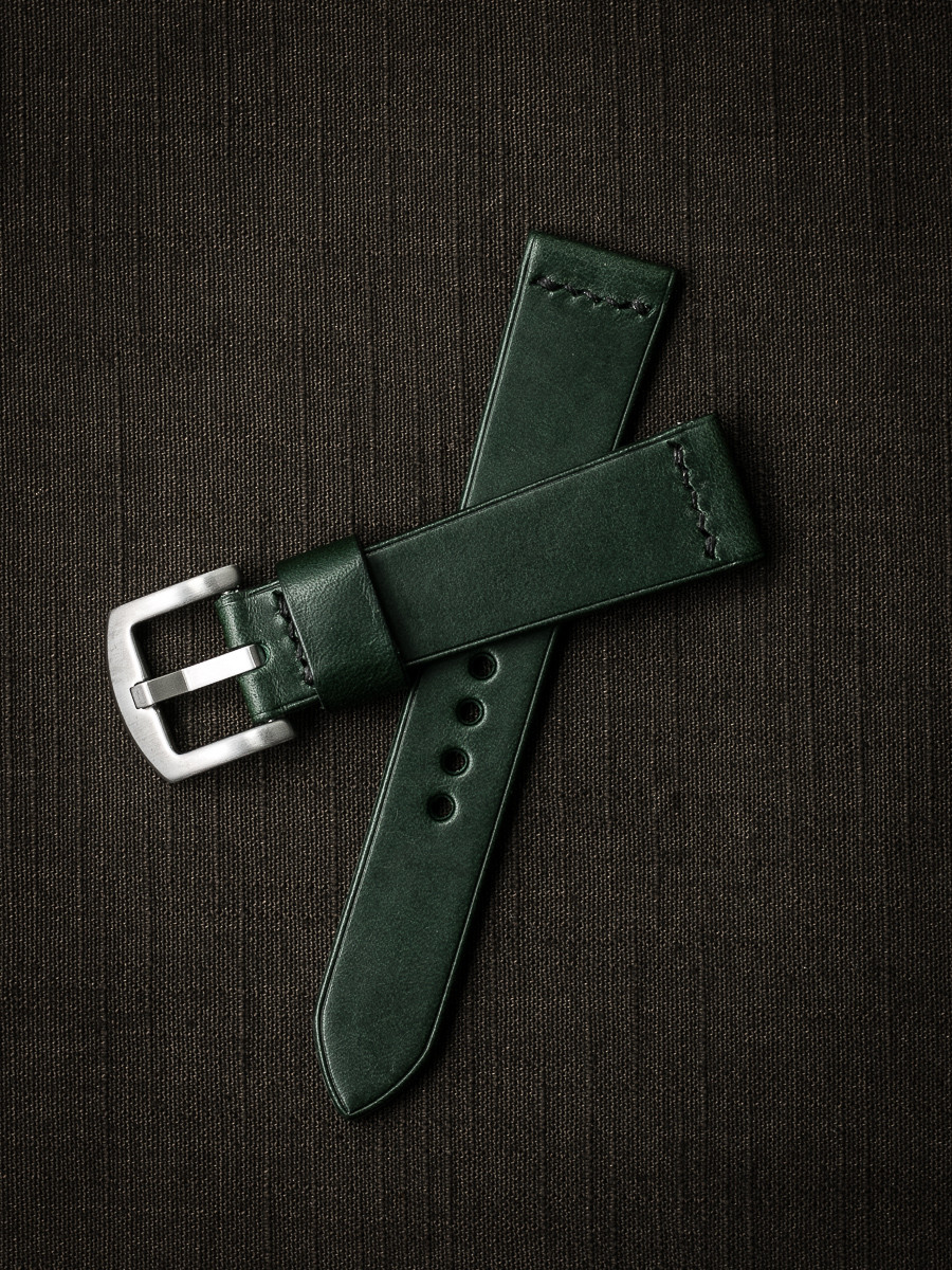 """Dean"" Racing Green Leather Watch Strap"