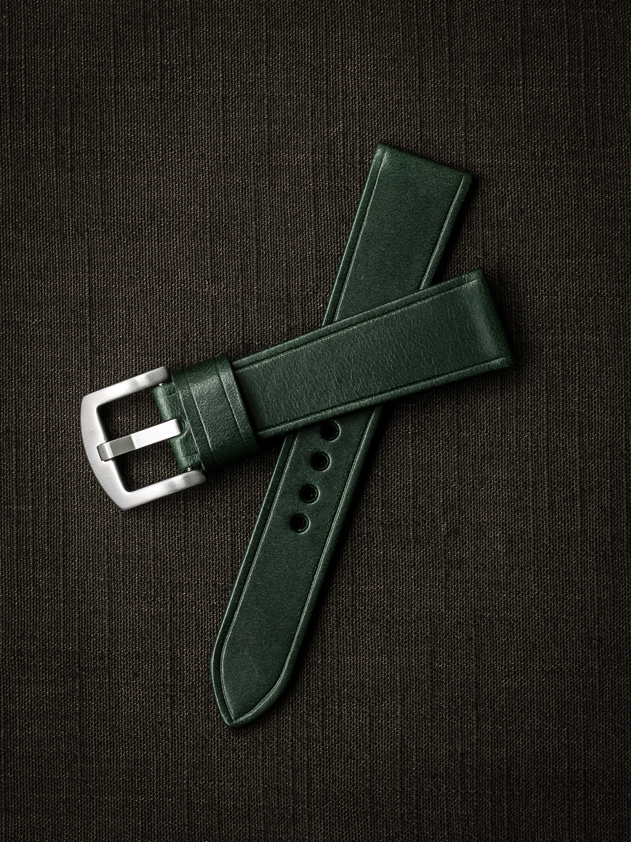 """Quinn"" Racing Green Leather Watch Strap"