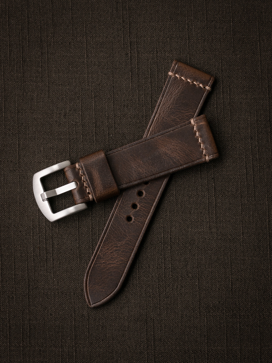 """Gavin"" Vintage Brown Handcrafted Leather Watch Strap"