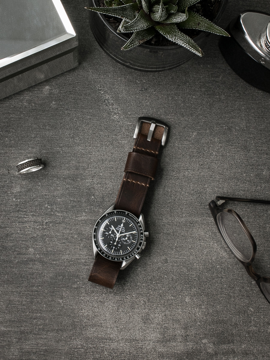 """""""Edison"""" Vintage Brown Handcrafted Leather Watch Strap"""