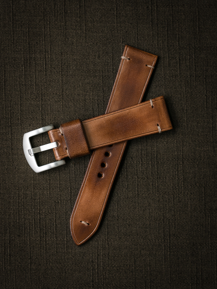 """Oxford"" Vintage Bourbon Handcrafted Leather Watch Strap"