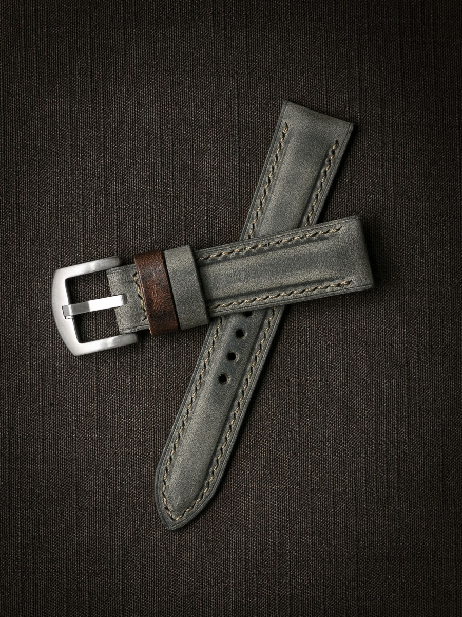 """""""Forbes"""" Vintage Grey Green Leather Watch Strap"""
