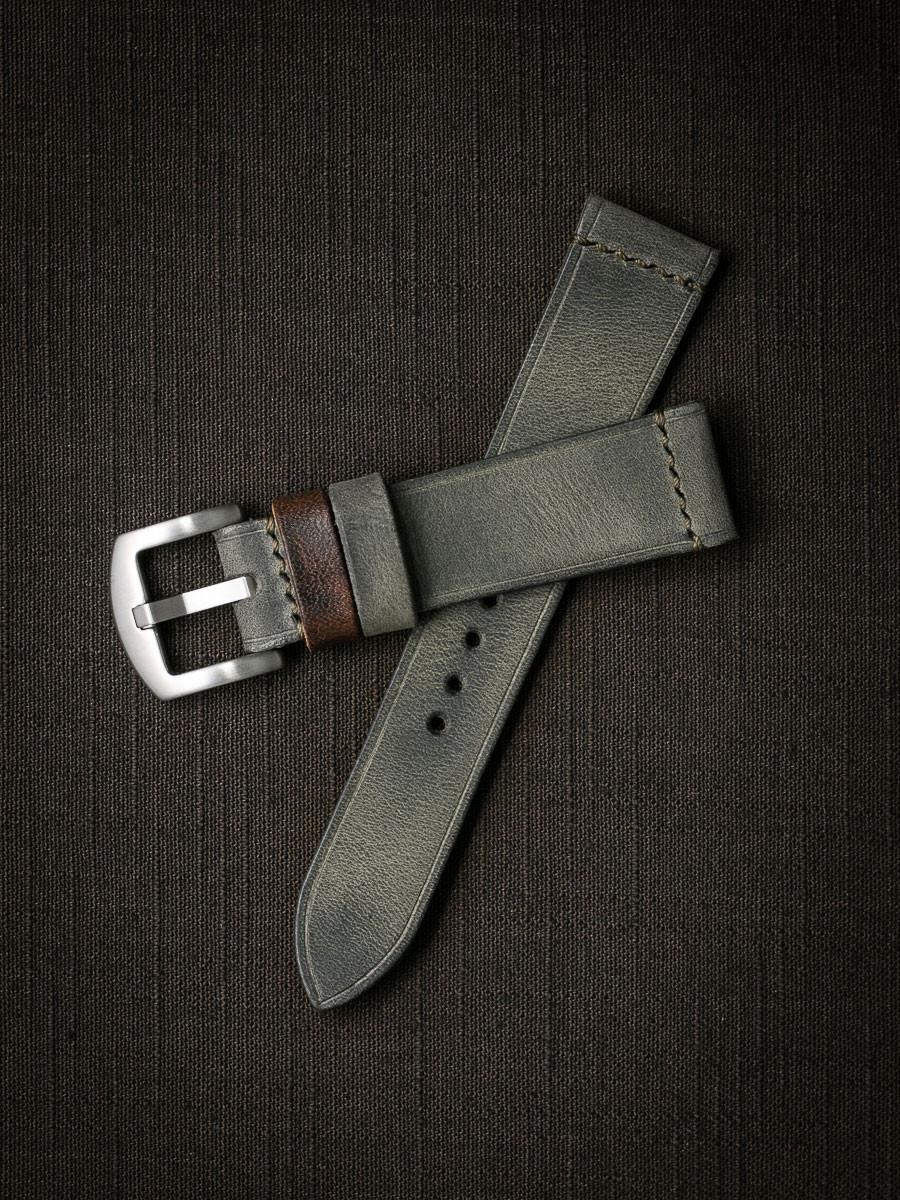 """Hunter"" Vintage Grey Green Leather Watch Strap"