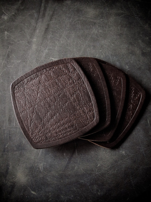 """Bubbly"" Burgundy Handmade Leather Coaster"