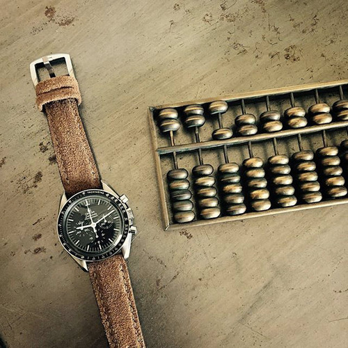 """""""Bronte"""" Tan Suede Padded Watch Strap"""