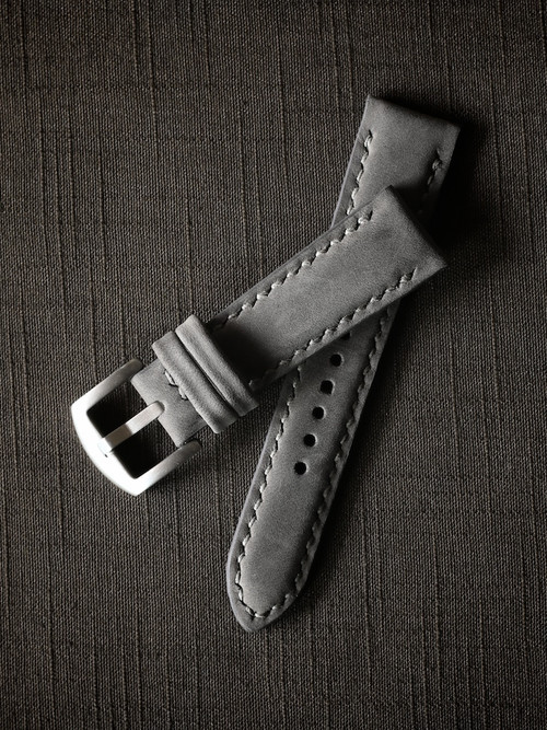 """Stockholm"" Medium Grey Nubuck Padded Watch Strap"