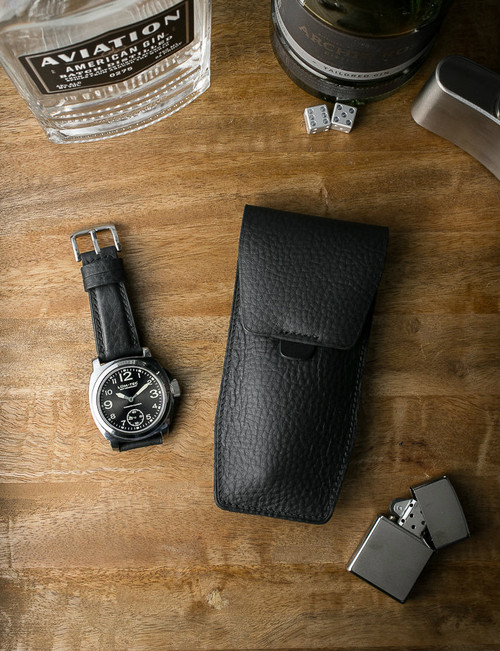 """Kingsman"" Black Padded Leather Watch Strap"