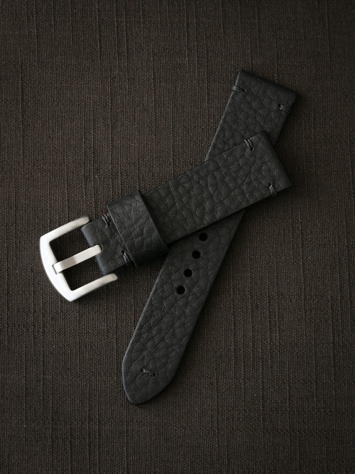 """Eckhardt"" Black Leather Watch Strap"