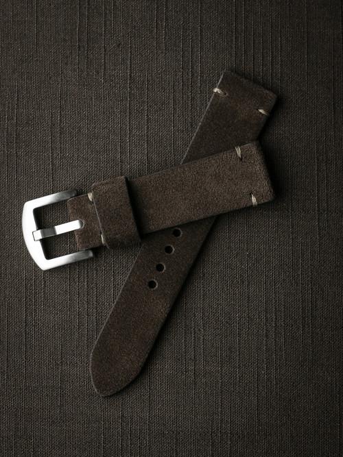 """""""Remington"""" Dark Brown Suede Watch Strap"""