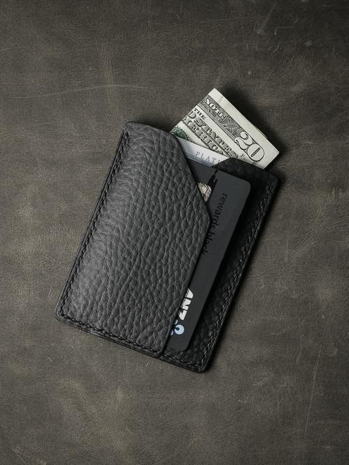 """Rex"" Black Pebbled Leather Slim Wallet"
