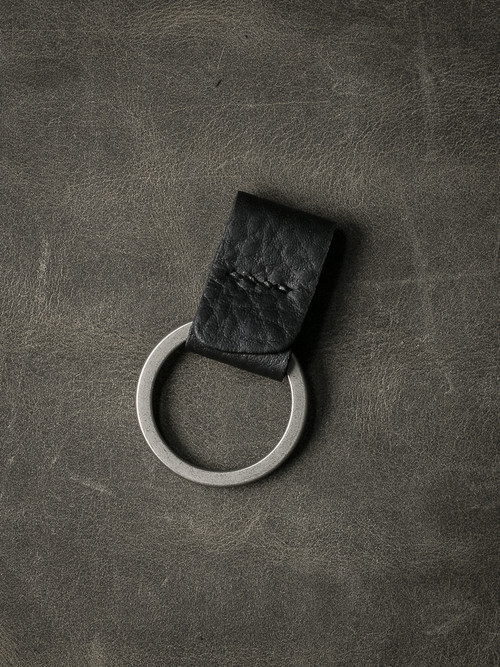 """Guardian"" Pebbled Black Handmade Leather Key Fob"