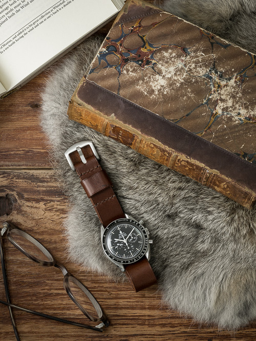 """Royce"" Warm Brown Leather NATO Watch Strap"