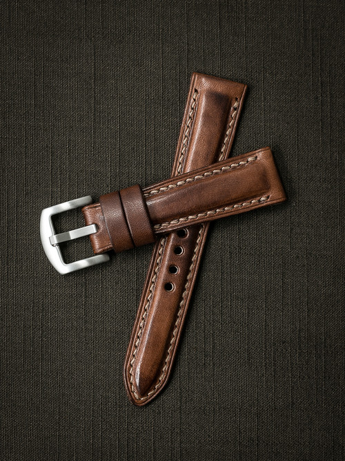 """Skyfall"" Russet Vintage Tan Padded Leather Watch Strap"