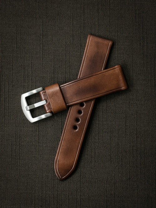 """Beckham"" Russet Vintage Tan Leather Watch Strap"