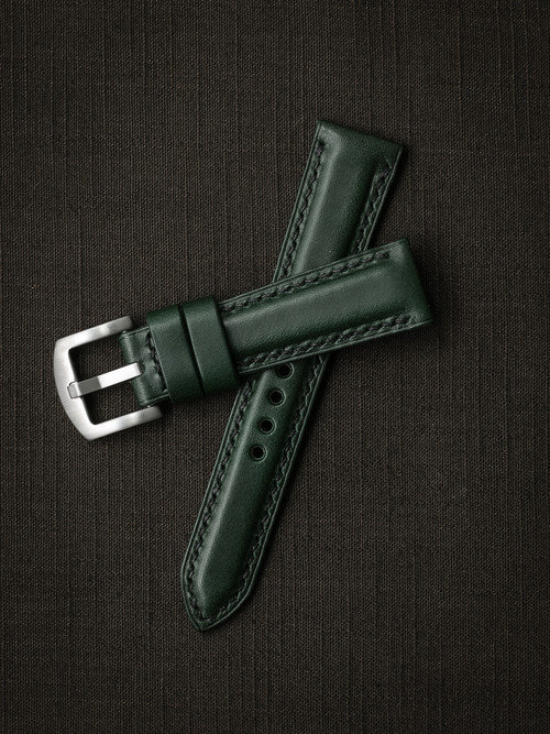 """Digby"" Racing Green Padded Leather Watch Strap"