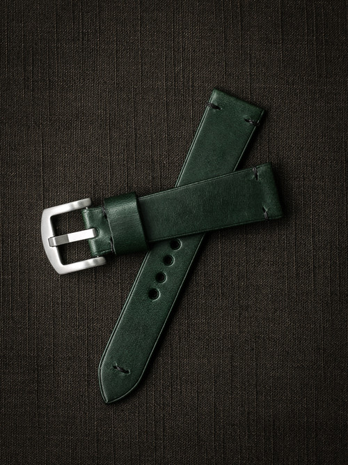 """Homer"" Racing Green Leather Watch Strap"