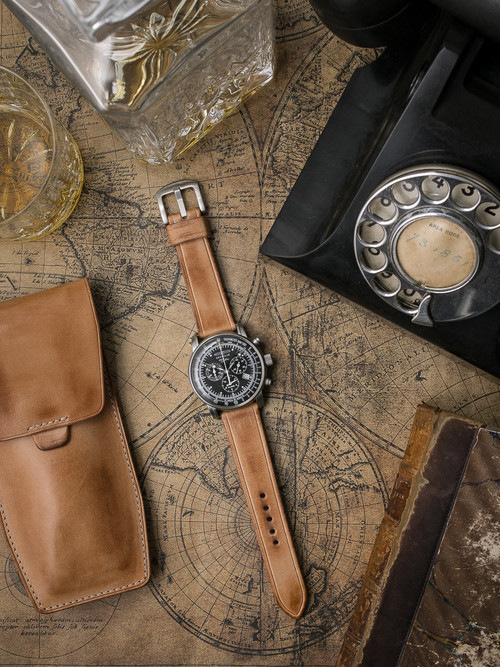 """""""Ghallagher"""" Natural Vintage Leather Watch Strap"""