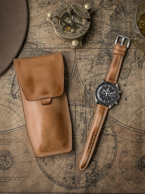 """Kingsford"" Natural Vintage Leather Watch Pouch"