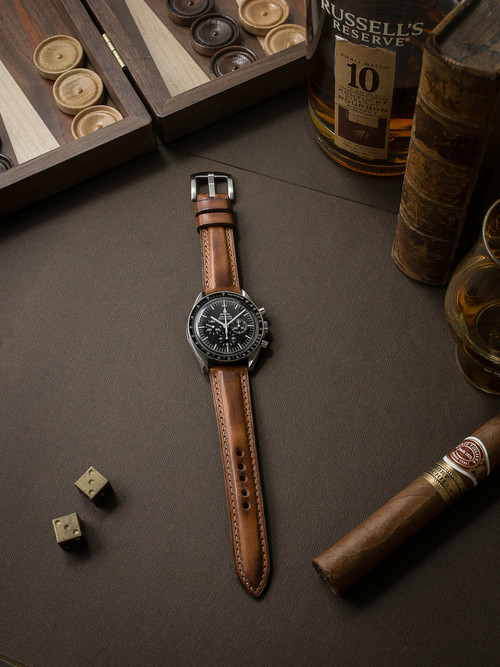 """Warrington"" Vintage Bourbon Padded Leather Watch Strap"