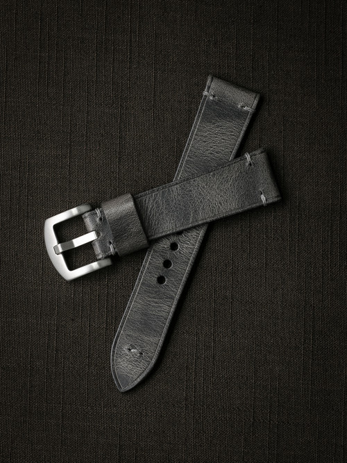 """Schenker"" Vintage Ghost Grey Handcrafted Leather Watch Strap"