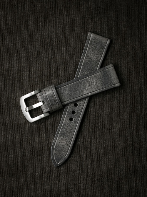 """Griffin"" Vintage Ghost Grey Handcrafted Leather Watch Strap"