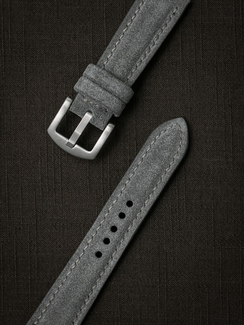 """Bourne"" Light Grey Padded Suede Watch Strap"