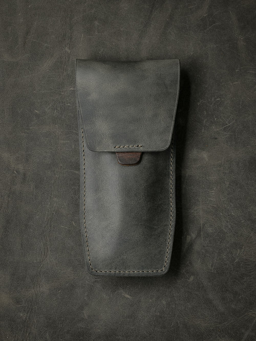 """Kingsford"" Vintage Grey/Green Leather Watch Pouch"