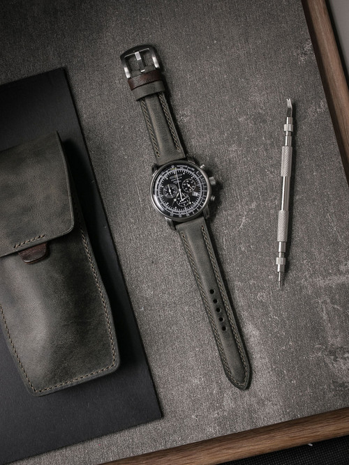 """Forbes"" Vintage Grey Green Leather Watch Strap"