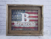 American Flag Family Name Canvas in Barnwood Frame