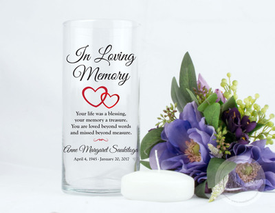Hearts Personalized Memorial Vase
