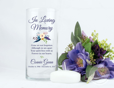 Blue Flowers Personalized Memorial Vase