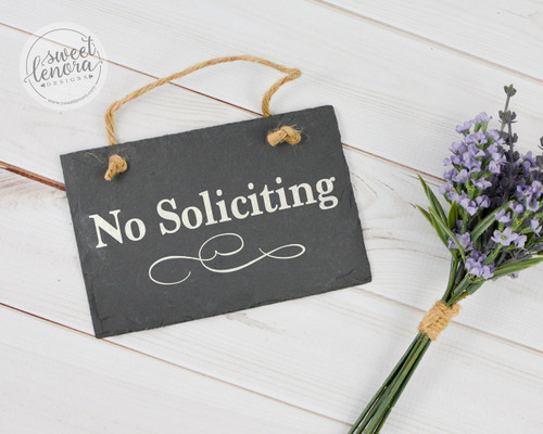No Soliciting Slate Sign