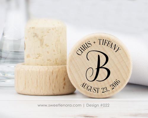 Single Monogram Wine Stopper Favors 022