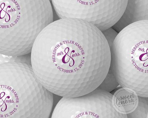 Mr. & Mrs. Circle Personalized Golf Balls