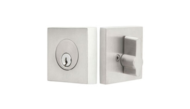 Emtek Single Cylinder Deadbolt, Square Rosette, Stainless Steel