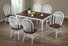 White & Cherry  Farm Table with 4 Fanback Chairs