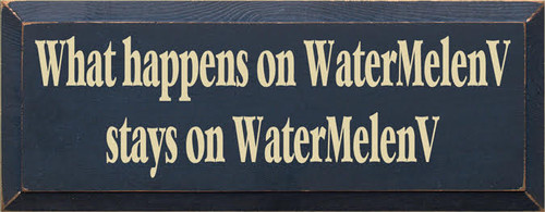 """CUSTOM Wood Painted Sign  Blue with Cream Text 18""""W x 7""""H"""